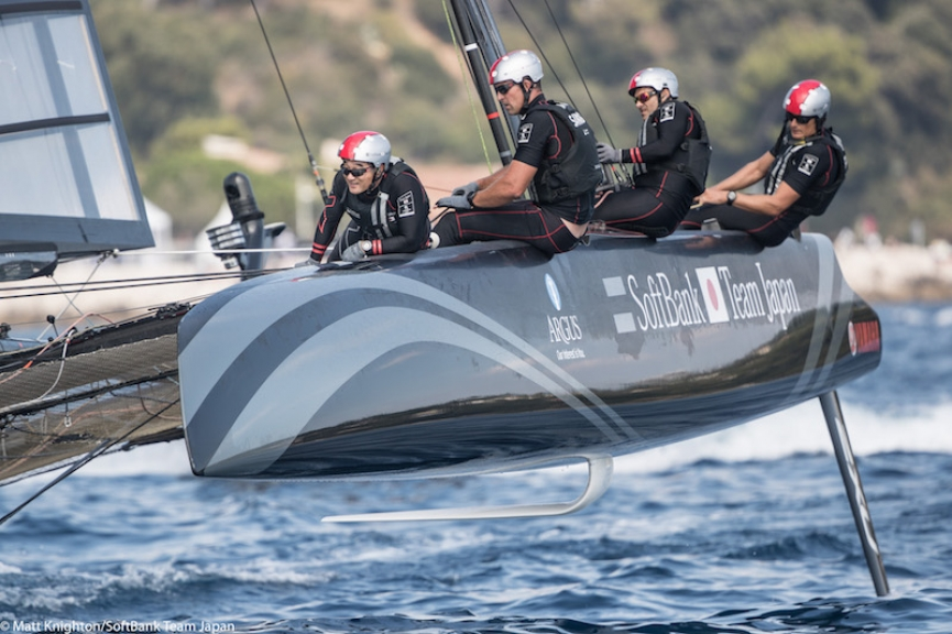 SoftBank Team Japan competing in Louis Vuitton America's Cup World Series Toulon