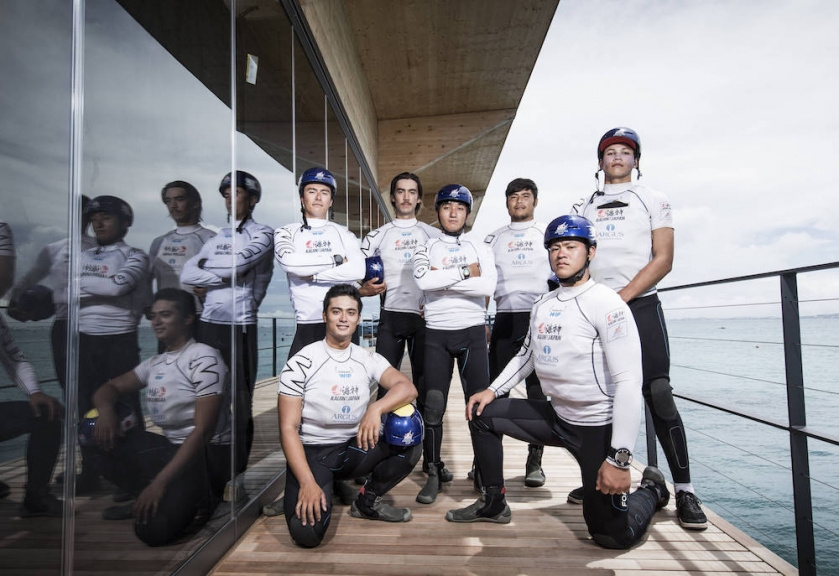 Kaijin Team Japan. Skippered by Ibuki Koizumi with team mates Hajime Kokumai, Timothy Morishima, Federico Sampei, Simon Suzuki, Leonard Takahashi, Mikiya Tsuji and Shota Usami. The Red Bull Youth America's Cup in Hamilton, Bermuda on June 15, 2017 // Mark Lloyd / ACEA / Red Bull Content Pool  // P-20170615-00329 // Usage for editorial use only // Please go to www.redbullcontentpool.com for further information